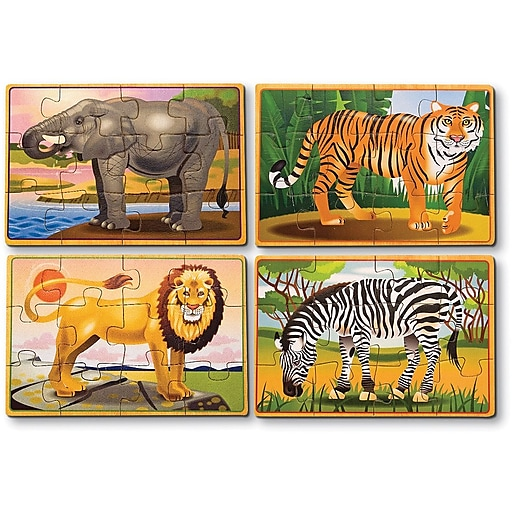 Melissa & Doug Wild Animals Jigsaw Puzzles in a Box (3796)