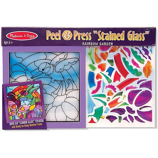 Melissa & Doug Rainbow Garden Stained Glass Peel & Press Sticker by Numbers (4264)