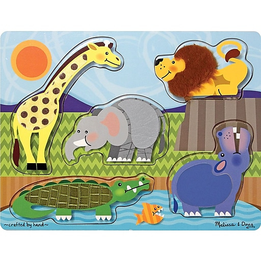 Melissa & Doug Zoo Animals Touch and Feel Puzzle - 5 Pieces (4328)
