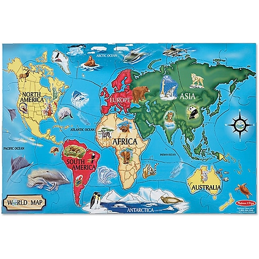 Melissa & Doug World Map Floor Puzzle - 33 Pieces