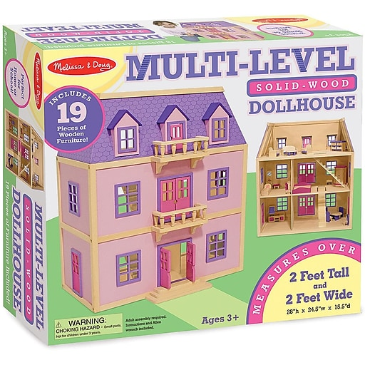 Melissa Doug Multi Level Solid Wood Dollhouse 4570