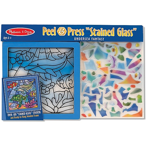 Melissa & Doug Undersea Fantasy Stained Glass Peel & Press Sticker by Number (8582)