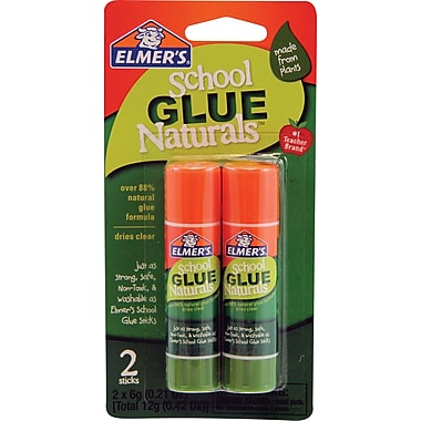 Elmer's School Glue Naturals, Clear Glue Sticks, .21 oz, 2/Pack