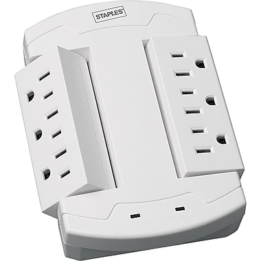 Staples 6-Outlet 1200 Joule Wall Mount Surge Protector