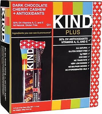 KIND Dark Chocolate Cherry Cashew PLUS Antioxidants Bars, 1.41 oz. Bars, 12 Bars/Box