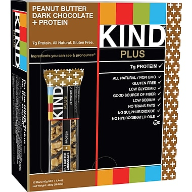 KIND Peanut Butter Dark Chocolate PLUS Protein Bars, 1.41 oz. Bars, 12 Bars/Box