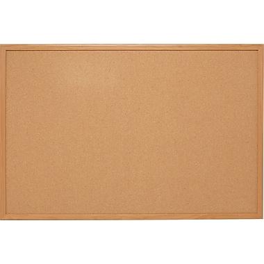 Staples Standard Cork Bulletin Board, Oak Finish Frame, 8'W x 4'H