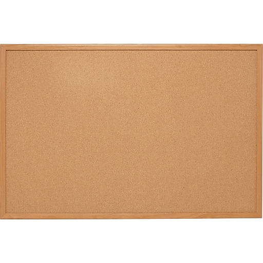 Staples Standard Durable Cork Bulletin Board, Oak Frame, 4' x 3' (28337-CC)