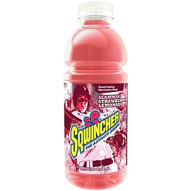 Sqwincher Ready to Drink Bottle, 20 oz, Strawberry Lemonade, 24/Case