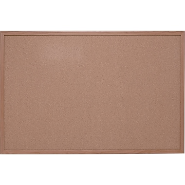 Quartet Basics Cork Bulletin Board with Oak Frame, 4' x 3'