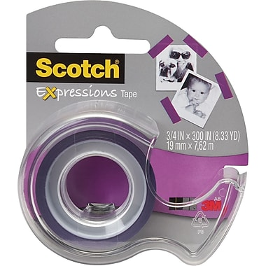 Scotch® Expressions Tape, Purple, Removable, 3/4