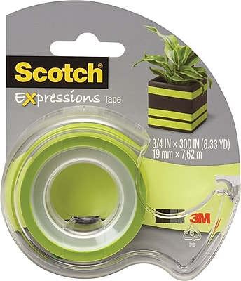 Scotch® Expressions Tape, Green, Removable, 3/4