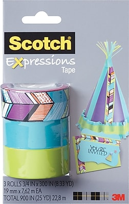 Scotch® Expressions Tape, Tribal, Blue, Green, Removable, 3/4