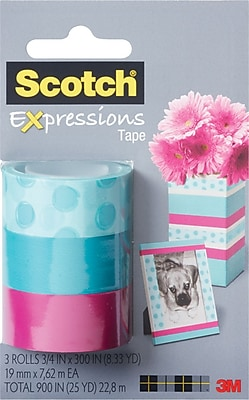 Scotch® Expressions Tape, Circle, Blue, Pink, Removable, 3/4