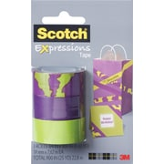 """Scotch® Expressions Tape, Animal, Purple, Green, Removable, 3/4"""" x 300"""", 3/Pack"""