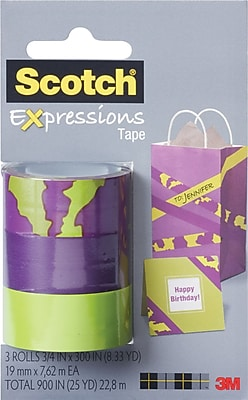 Scotch® Expressions Tape, Animal, Purple, Green, Removable, 3/4