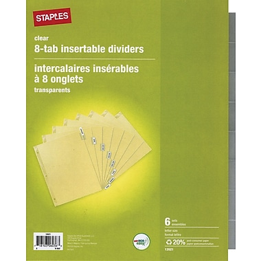 Staples® Insertable Clear 8 Tab Dividers
