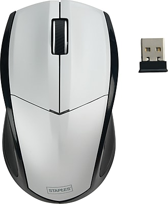 Staples Wireless Optical Mouse, Silver