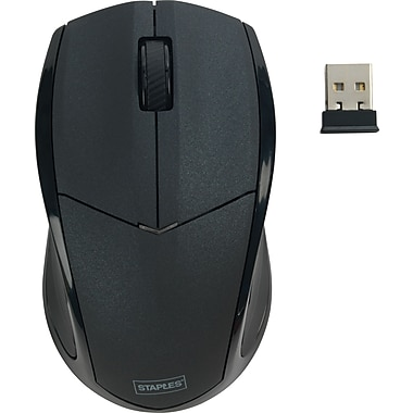 Staples® Wireless Optical Mouse, Black
