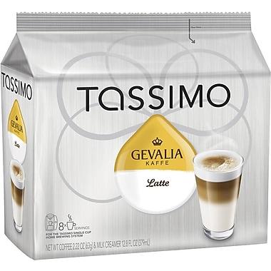 Tassimo Gevalia Latte, Regular, 8 Creamer + 8 Espresso T-Discs/Pack