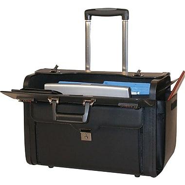 Bond Street – Valise à catalogues sur roulettes pour ordinateur portatif de 17,3 po, cuir, noir