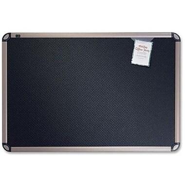 QuartetMD – PrestigeMD EuroMC, babillard en mousse gaufrée noire, 36 po x 24 po, cadre en titane