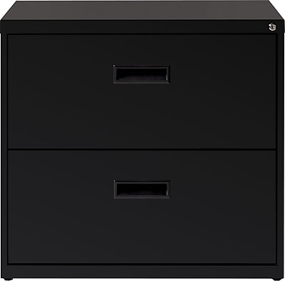 Hirsh Industries 2 Drawer Lateral File Cabinet, Black, Letter, 30