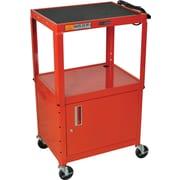 Luxor® Steel Adjustable Height AV Cart W/Cabinet, Red