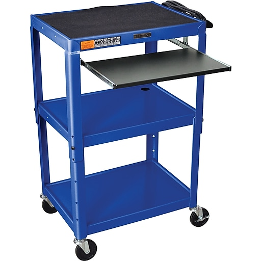 Luxor® Steel Adjustable Height AV Cart W/Pullout Keyboard Tray, Royal Blue