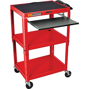 Luxor® Steel Adjustable Height AV Cart W/Pullout Keyboard Tray, Red
