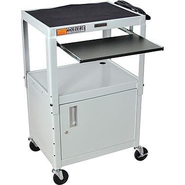 Luxor® Steel Adjustable Height AV Carts W/Cabinet & Pullout Keyboard Tray