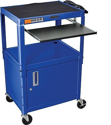 Luxor® Steel Adjustable Height AV Cart W/Cabinet & Pullout Keyboard Tray, Royal Blue