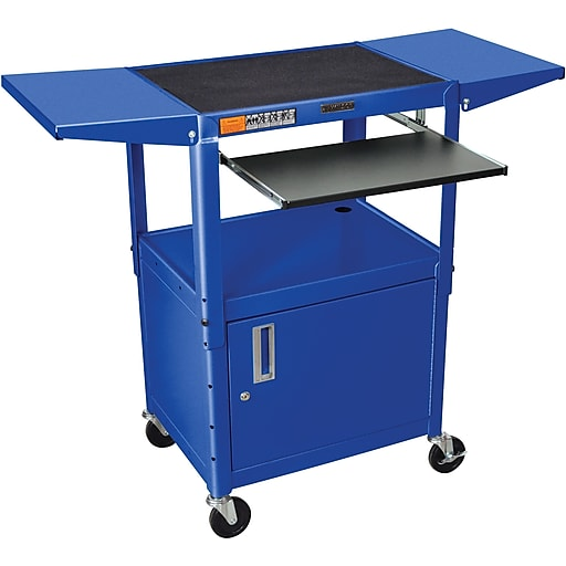 Luxor® Steel Adjustable Height AV Cart W/Pullout, Cabinet, Drop Leaf Shelves, Royal Blue