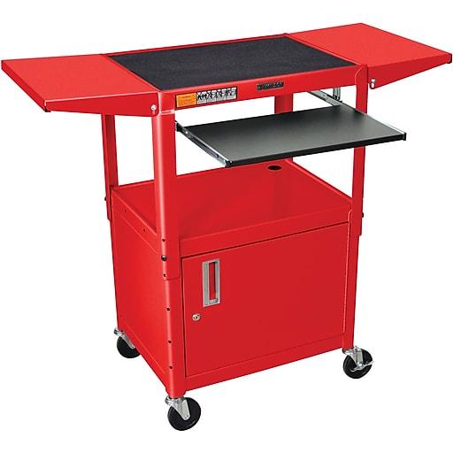 Luxor® Steel Adjustable Height AV Cart W/Pullout, Cabinet, Drop Leaf Shelves, Red