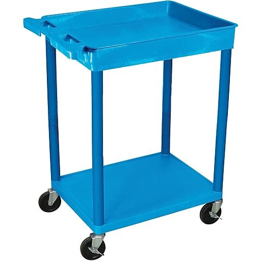 "Luxor® STC Series 35 3/4""(H) 2 Shelves Top Tub & Bottom Flat Shelf Cart, Blue"
