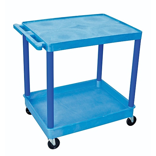 "Luxor® TC Series 35 3/4""(H) 2 Shelves Large Flat Top & Tub Bottom Shelf Cart, Blue"