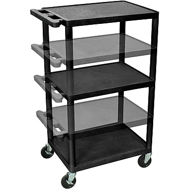 Luxor® 3 Shelves Multi Height AV Cart, Black