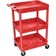 "Luxor® STC Series 36 1/2""(H) 3 Shelves Tub Cart, Red"