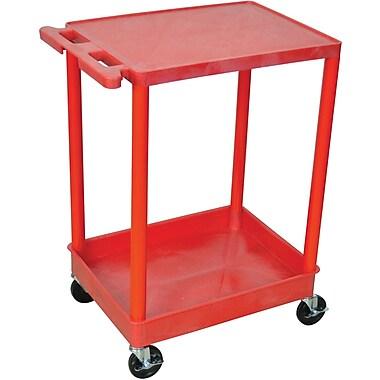 Luxor® STC Series 2 Shelves Flat Top & Tub Bottom Shelf Cart, Red