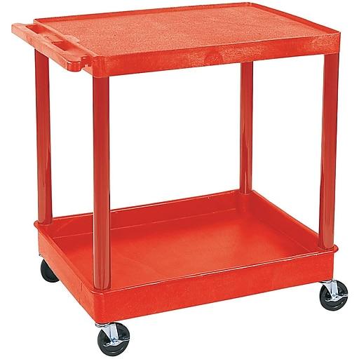 "Luxor® TC Series 35 3/4""(H) 2 Shelves Large Flat Top & Tub Bottom Shelf Cart, Red"