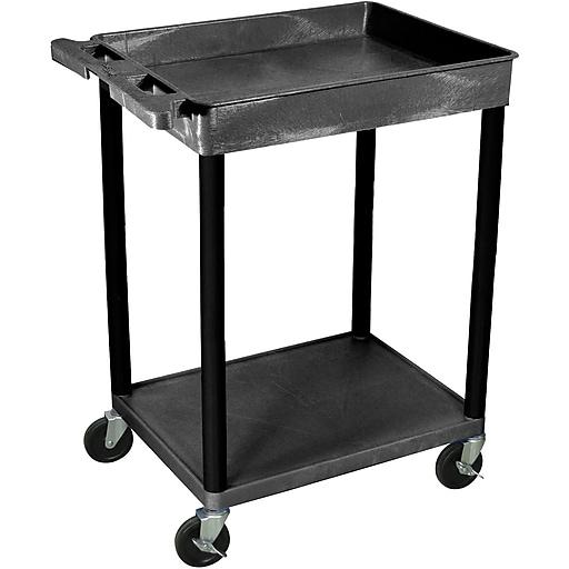 "Luxor® STC Series 35 3/4""(H) 2 Shelves Top Tub & Bottom Flat Shelf Cart, Black"