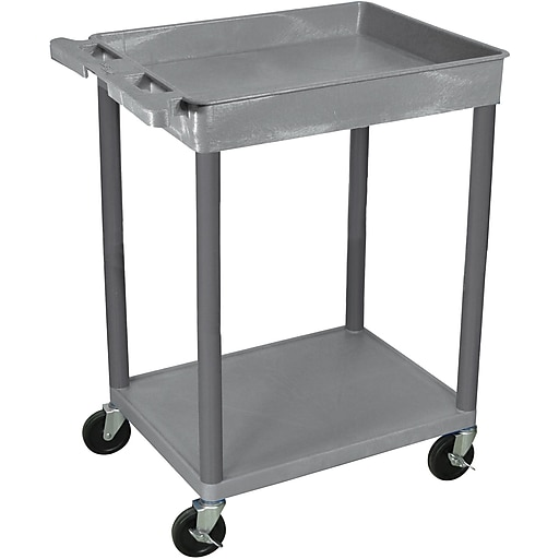 "Luxor® STC Series 35 3/4""(H) 2 Shelves Top Tub & Bottom Flat Shelf Cart, Gray"