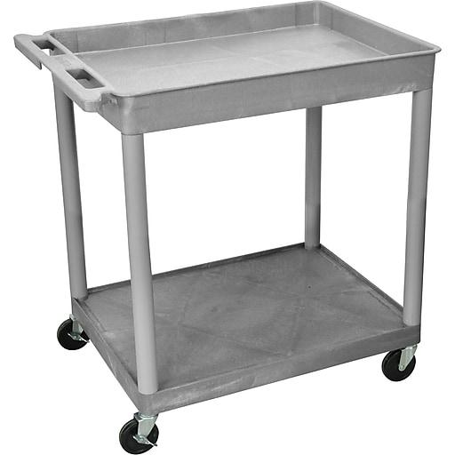 "Luxor® TC Series 35 3/4""(H) 2 Shelves Large Top Tub & Flat Bottom Shelf Cart, Gray"