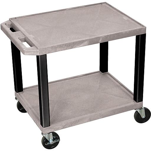 """H Wilson® 26""""(H) 2 Shelves Tuffy AV Carts, Gray"""