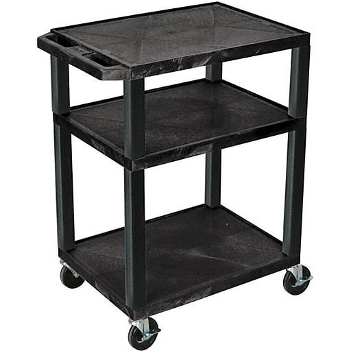 """H Wilson® 34""""(H) 3 Shelves Tuffy AV Carts, Black"""