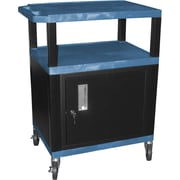 "H Wilson® 4""(H) 3 Shelves Tuffy AV Cart W/Putty Legs, Cabinet & Electrical Attachment, Blue"