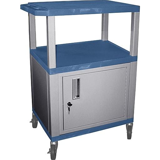 "H Wilson® 34""(H) 3 Shelves Tuffy AV Cart W/Nickel Legs, Cabinet & Electrical Attachment, Blue"