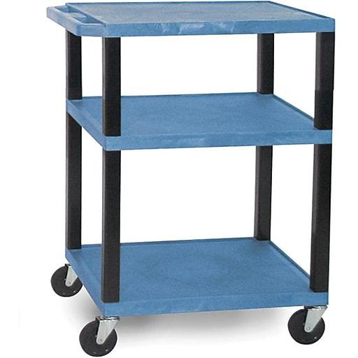 H Wilson® 3 Shelves Tuffy AV Cart W/Black Legs & Electrical Attachment, Blue