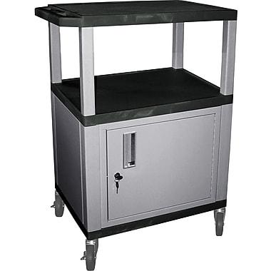 H Wilson® 3 Shelves Tuffy AV Cart W/Black Legs, Cabinet & Electrical Attachment, Black