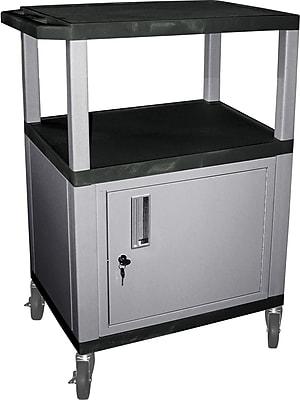 H Wilson 3 Shelves Tuffy AV Cart W/Black Legs, Cabinet & Electrical Attachment, Black